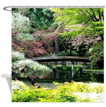 Blossoms and Bridge shower curtain