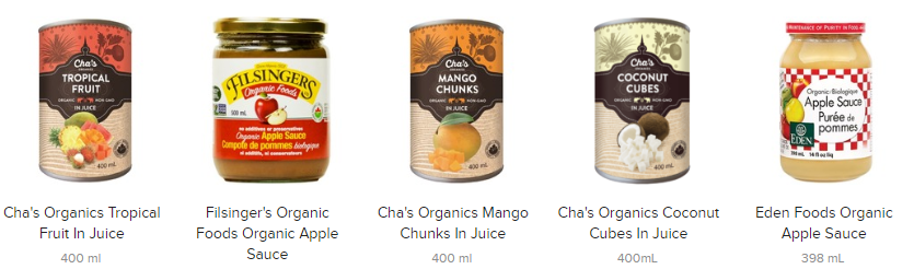 organic canned fruit online in Canada